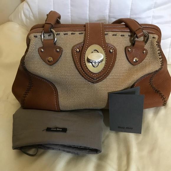 Miu Miu Handbags - Miu Miu Vintage Hemp & Leather Turn-Lock Bag